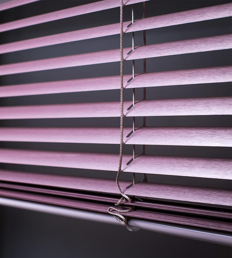 Алюминиевые горизонтальные жалюзи лиловые №7536  с лентой 25 мм