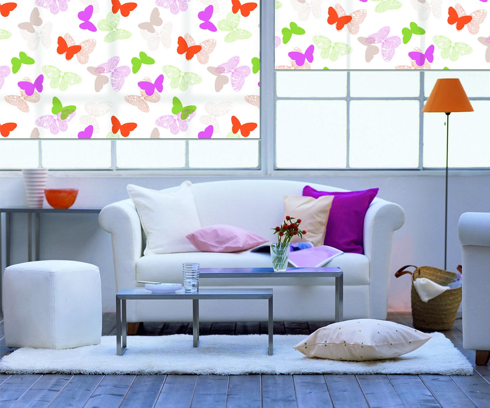 Рулонные цветные шторы в гостинную БАБОЧКИ